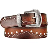 Womens Dual Layer Brown Leather Belt Round Metal Stud Pattern Large Western Buckle (L)