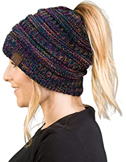 Funky Junque Women s Beanie Ponytail Messy Bun BeanieTail Multi Color  Ribbed Hat Cap 804ed31d64a8