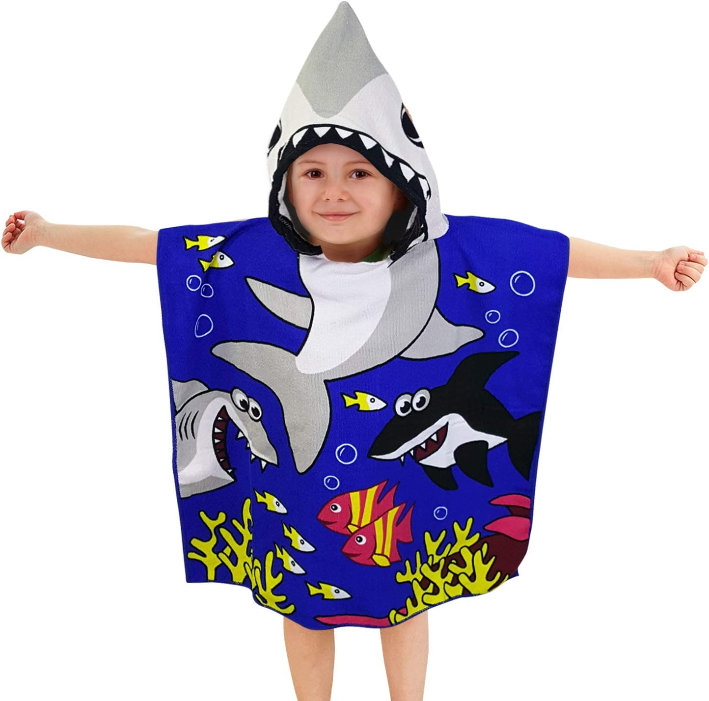 Hooded Poncho Kids Character Towel Beach Pool Fun Hoodie Girl Boy Mermaid Shark