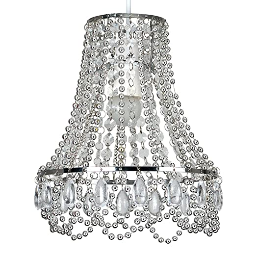 Modern Chrome Ceiling Pendant Light Shade with Clear Acrylic Jewel ...