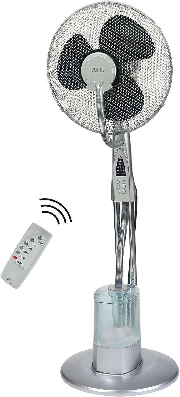 AEG VL 5569 LB Ventilador de pie oscilante con nebulizador de agua, diámetro 40 cm, 85 W, 3 litros, 3 Velocidades, Plata