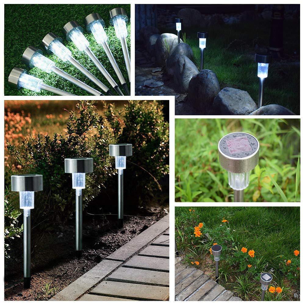NeillieN LED Solar Lights Outdoor Garden Lights Solar Pathway Lights Landscape Lighting Solar Powered Pathway Light Landscape Light Lawn//Patio//Yard//Walkway//Driveway White 18-Pack