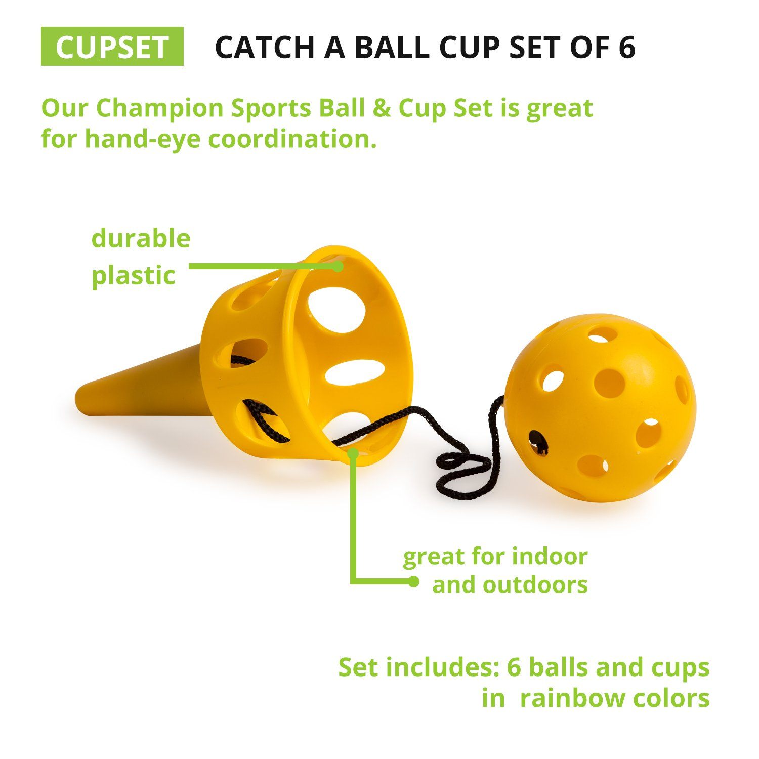 Camping /& Beach Classic Kids Outdoor Party Game for Lawn Champion Sports Catch A Ball Set