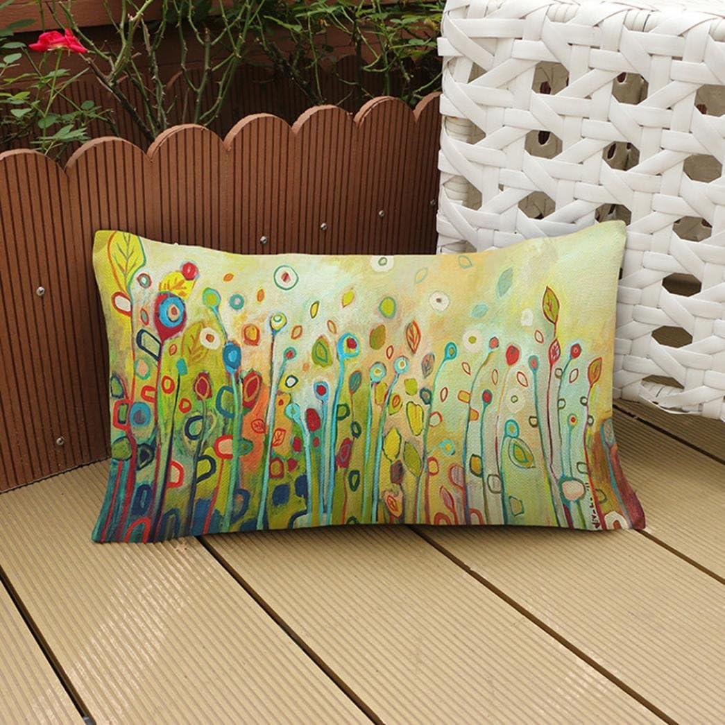 30 x 50 cm A festival 30cm*50cm//12*20 cama decoraci/ón del hogar ESAILQ Funda de coj/ín con estampado floral multicolor para sof/á