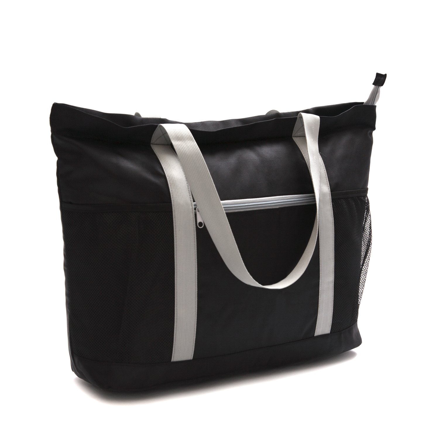 c1862eda0de5 Large Beach Bag With Zipper - XL Foldable Tote Bag For Travel And Shopping  - Large Tote Bag With Many Pockets (Black)