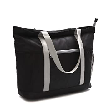 2aa0099c88 Amazon.com  Large Beach Bag With Zipper - XL Foldable Tote Bag For Travel  And Shopping - Large Tote Bag With Many Pockets (Black)  GRIA Lifestyle