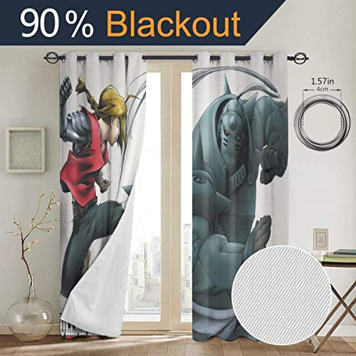 Fullmetal Alchemist Edward Elric Blackout Curtain Darkening Thermal Window Curtains Bedroom Panel Insulated Room Drapes Set of 2 Curtain Panels 52 X 72 Inch Punch
