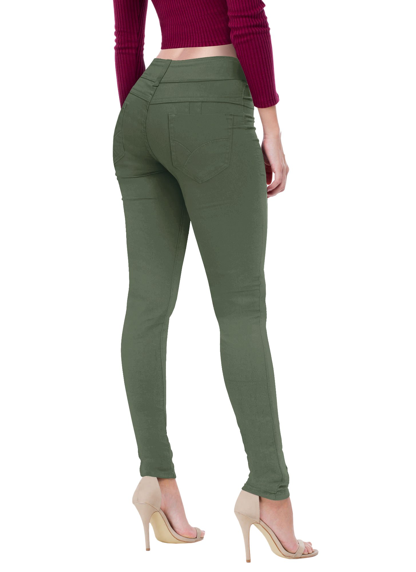 HyBrid & Company Women's Butt Lift V2 Super Comfy Stretch Denim Jeans P43637SK Olive 13
