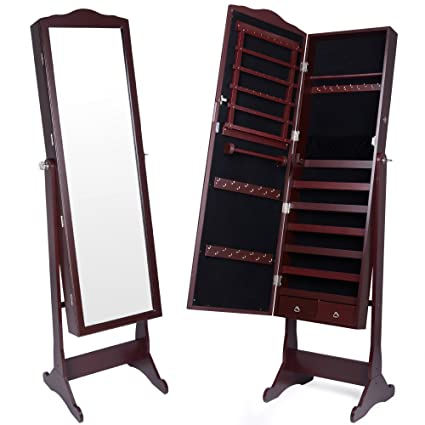 Kendal Mirrored Jewelry Cabinet Armoire Lockable Standing Organizer With 2 Drawers Dark Brown Jct003