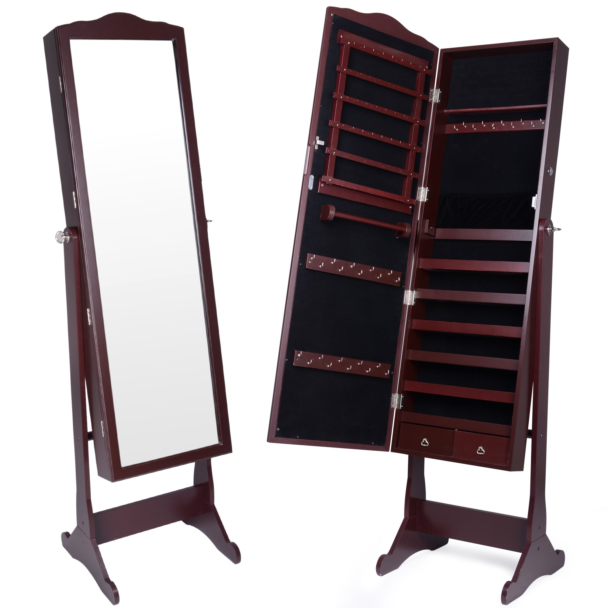 Kendal Standing Lockable Jewelry Cabinet with Cheval Mirror, Dark Brown JCT003