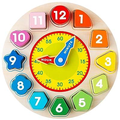 デリケート Coogam Wooden Shape Color Sorting Clock – Teaching Time