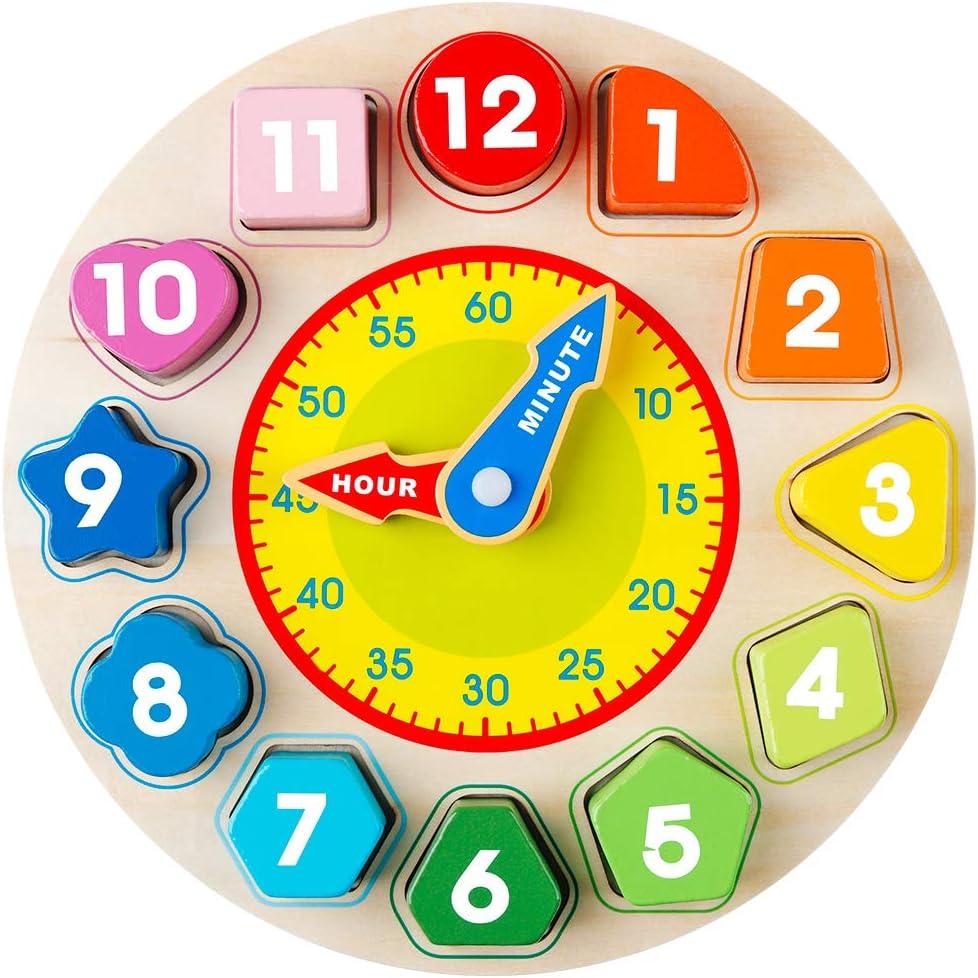 Coogam Reloj de Aprendizaje Wood Shapes - Tiempo de enseñanza Bloques de números Apilador Clasificador Montessori Puzzle Aprendizaje temprano Juguete Educativo Regalo