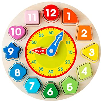 Uhr-Spielzeug aus Holz zum Lernen der Uhr Kinder Pädagogisches Puzzle Uhren