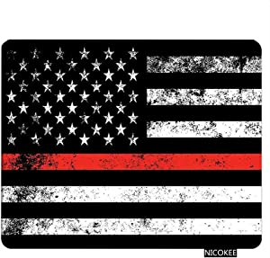 NICOKEE US Flag Rectangle Gaming Mousepad Fire Fighter Thin Red Line Flag Mouse Pad Mouse Mat for Computer Desk Laptop Office 9.5 X 7.9 Inch Non-Slip Rubber