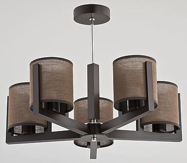Bauhaus Pendelleuchte 5 Flammig E14 Zylinder Dunkles Holz Metall Wohnzimmer  Esszimmer Hängeleuchte