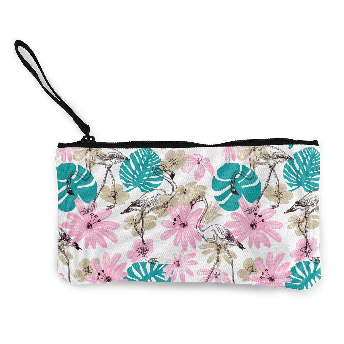 Cellphone Clutch Purse With Wrist Strap Flamingo And Flowers Pattern Zipper Small Purse Wallets Girls Canvas Coin Purse