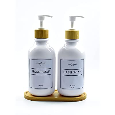 Buy 2 Pack Dish Soap Dispenser For Kitchen 16oz Bathroom Soap Dispenser Set With Bamboo Pump And Soap Tray Shampoo And Conditioner Lotion Hand Soap Dispenser With Waterproof Labels White Online In