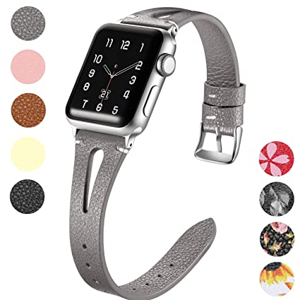 Maledan Correa para Apple Watch 38mm 40mm 42mm 44mm, Pulsera de Cuero Genuino Delgado y Elegante de Repuesto para Apple Watch Series 5/4/3/2/1