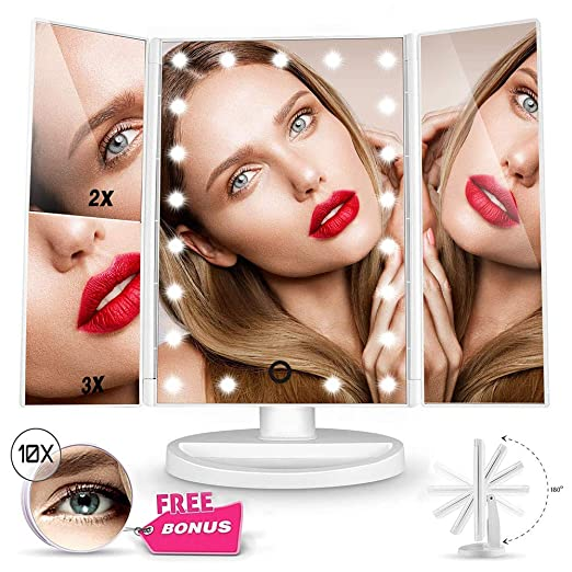 Funtouch Makeup Vanity Mirror with 21 LED Lights, 10X/3X/2X/1X Magnifying Led Makeup Mirror with Touch Screen,Dual Power Supply,180° Adjustable Rotation,Countertop Cosmetic Mirror(White)