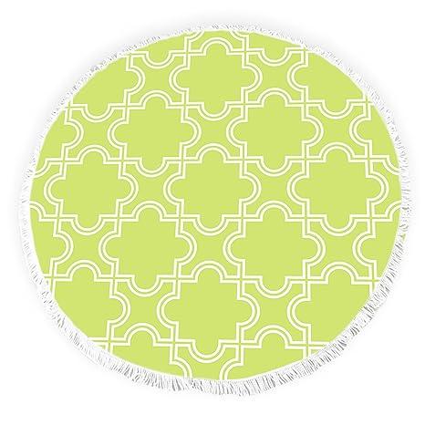 Yun Nist Toallas de playa redondas con borlas modernas marroquíes enrejado acentuado círculo grueso Gypsy alfombra
