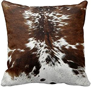 Leaveland Throw Pillowcase 20 x 20 Tri Color Brown Cowhide Print Throw Pillow Cover