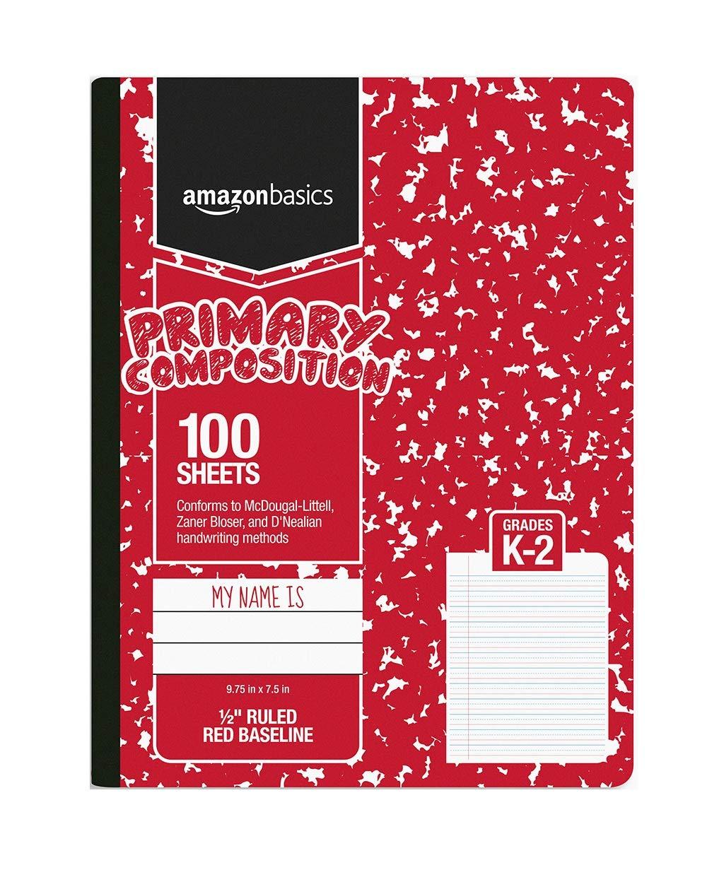 AmazonBasics Primary Composition 1/2'' Ruled, 100-Sheet, 9.75'' x 7.5'', 15-Pack by AmazonBasics