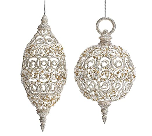 Christmas Tablescape Decor - Victorian style champagne filigree Christmas ornaments - Assortment of 8