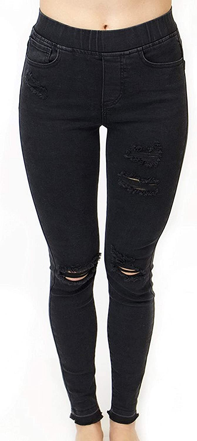 Grace and Lace Women's MidRise Distressed Black Pull On Jegging Skinny Jeans