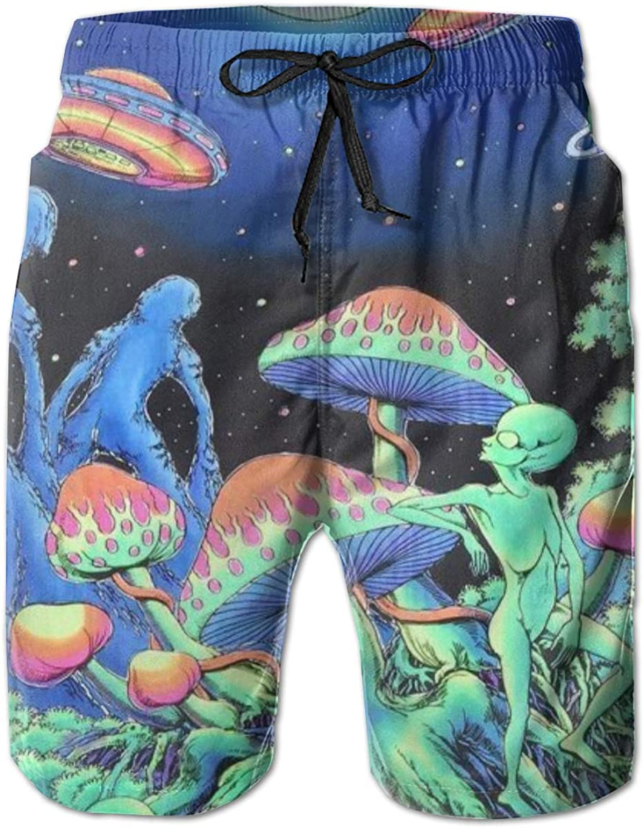 Mens Swim Trunks Mushrooms Beach Board Shorts Quick Dry Sports Running Swim Board Shorts with Pockets Mesh Lining