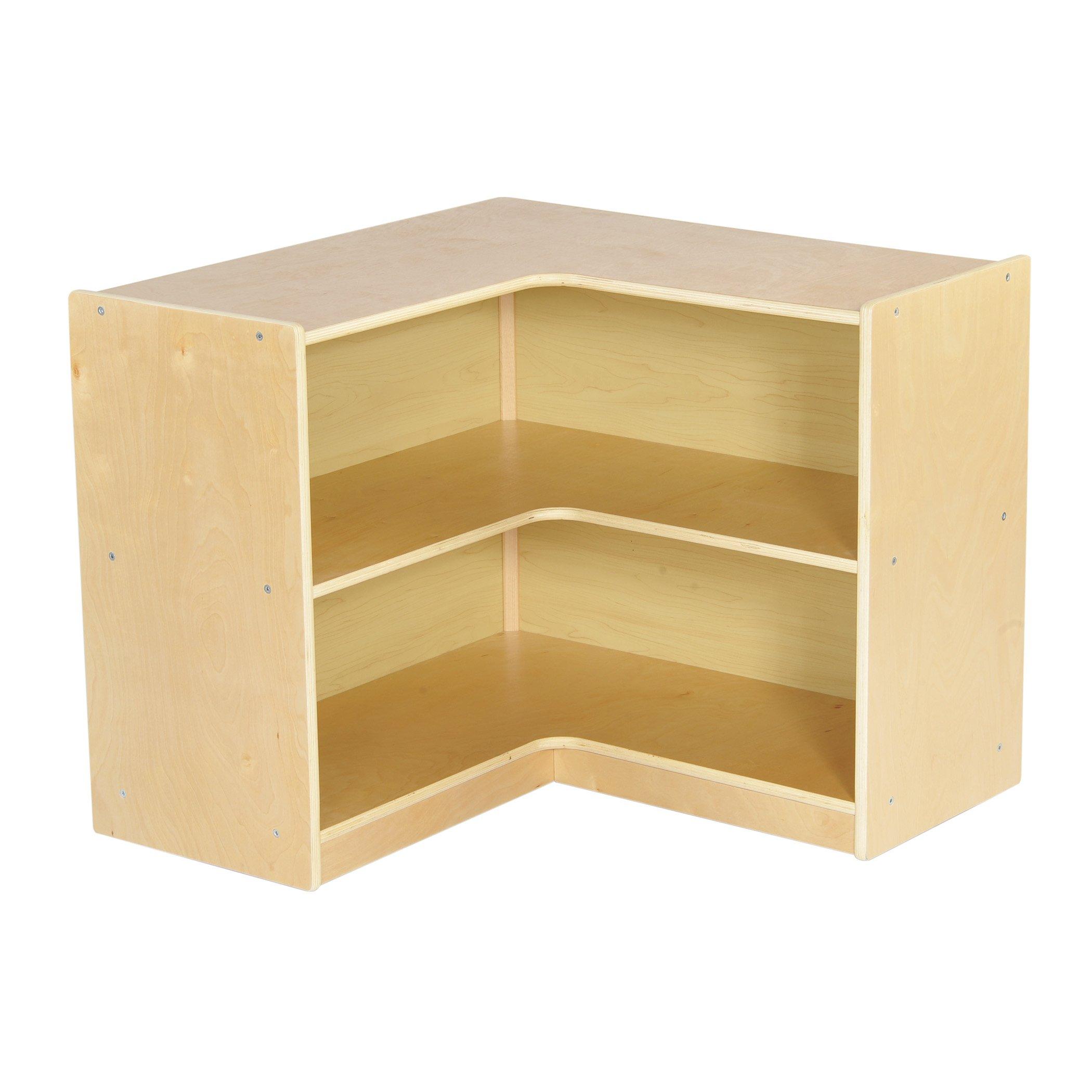 ECR4Kids Birch Corner Classroom Storage Cabinet with Casters, Natural, 24'' H