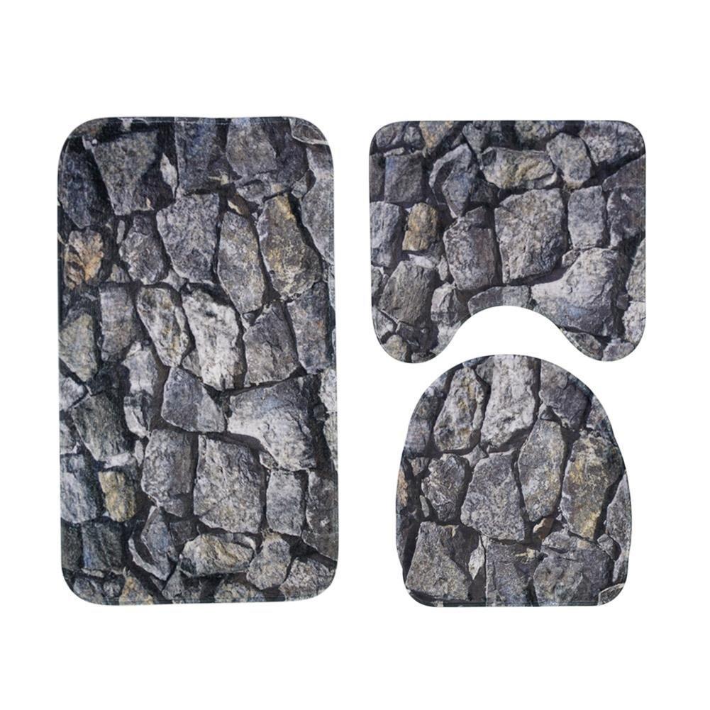 Matefield 3pcs/set Rock Printed Non Slip Water Absorb Floor Rugs Carpet Bath Mats Pad by Matefield