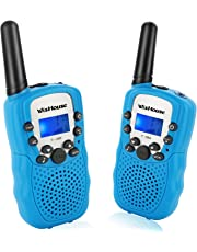 WisHouse Kids Walkie Talkies, PMR446MHz Easy to Use Walky Talky for Boys and Girls Gifts with Torch 3KM Long range to play with Family and Friends for Camping Biking and Hiking.(T388 Blue, 2pcs)