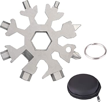 18 In 1 Multi Tools Stainless Tool Snowflake Shape Key Chain Screwdriver US