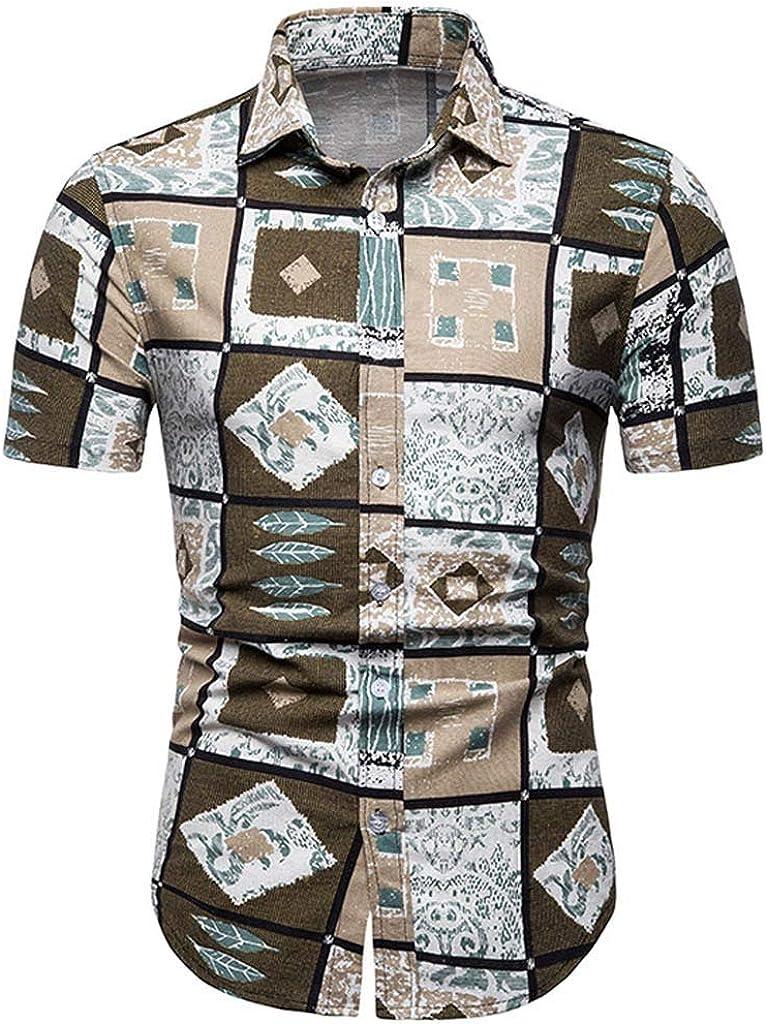 EERTX – Camisa Hawaiana Informal para Hombre de Manga Corta Caqui 3XL: Amazon.es: Ropa y accesorios