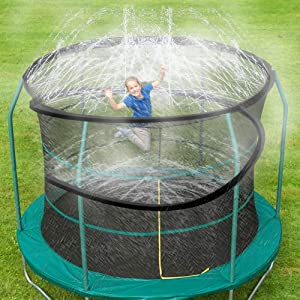 ARTBECK Trampoline Spray Water Park Fun Summer Outdoor Water Game Toys Trampoline Accessories, Trampoline Sprinklers Toy for Kids, Made to Attach On Trampoline Safety Net Enclosure (39 ft, Black)