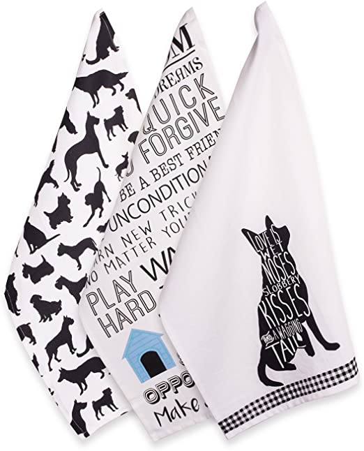 cotton tea towel Tea Towel with portrait of a working guide dog on it