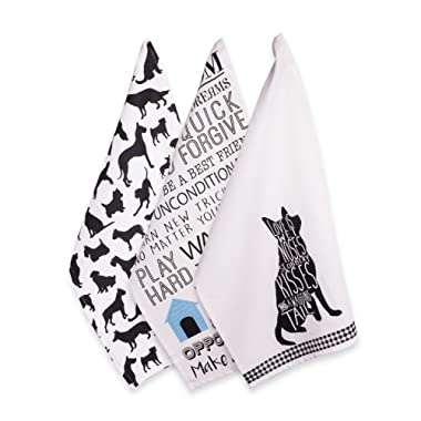 DII 100% Cotton, Everyday Basic Home Kitchen, Ultra-Absorbent, Drying, Cleaning, Pet Lover, Printed Dish Towels, 18 x 28, Set of 3-Dog, Dishtowel-18 x 28 , (3)
