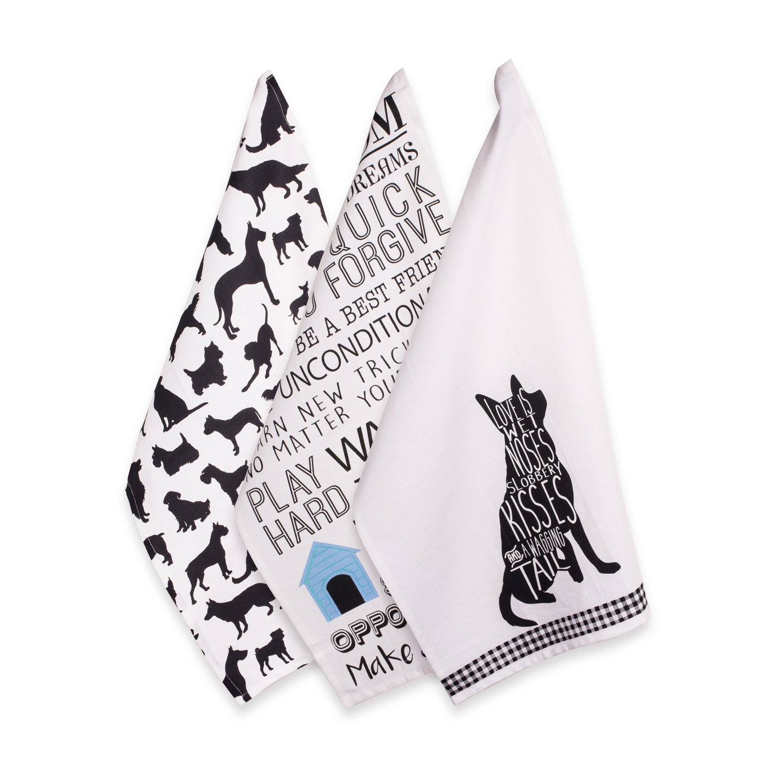 DII Cotton Decorative Pet Lover Dish Towel 18 x 28 Set of 3, Oversized Kitchen Dish Towels, Perfect Mother's Day, Hostee, Housewarming Gift-Dog Show