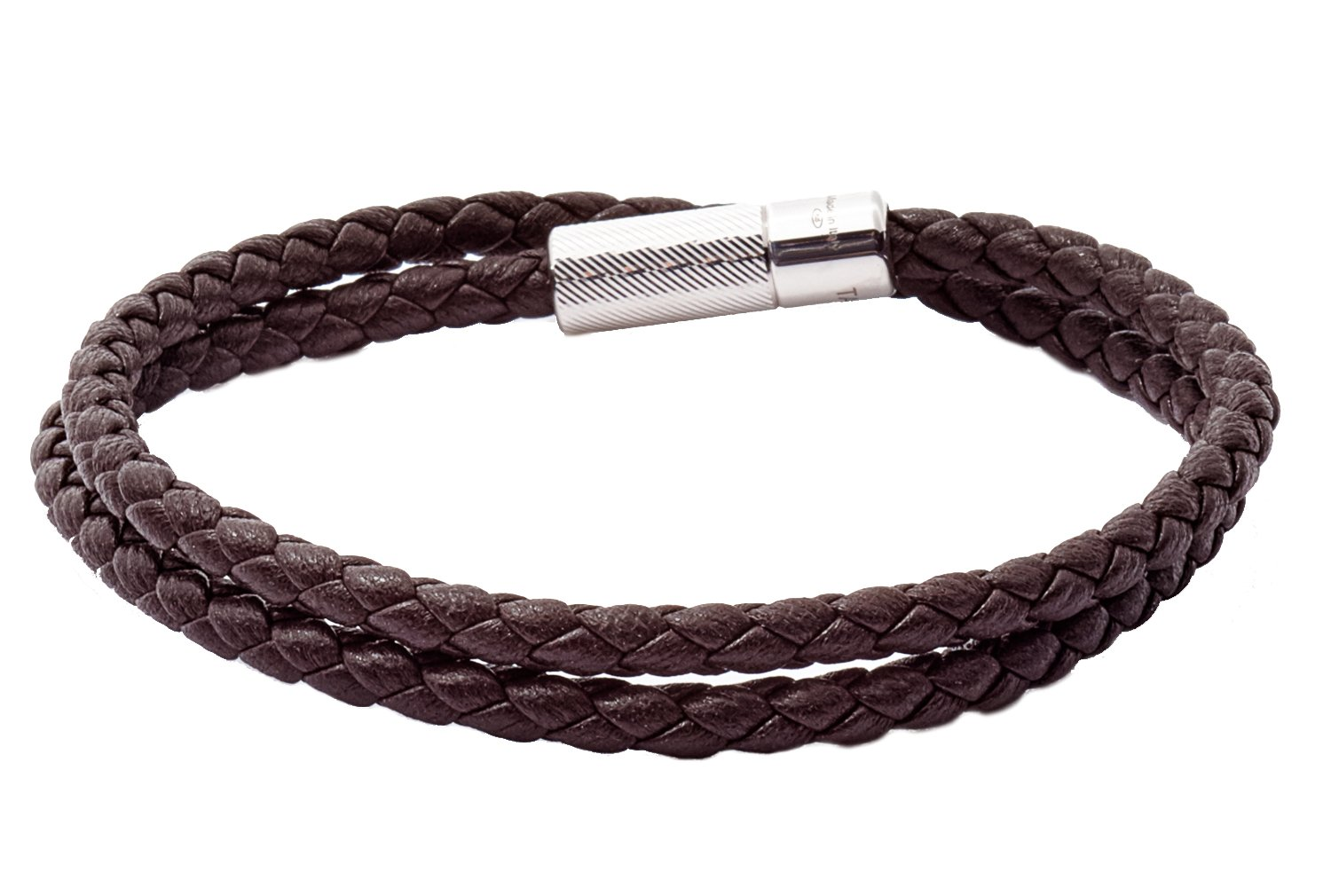 Tateossian POP Rigato Double Wrap Italian Leather Bracelet - Dark Brown, Large 41cm