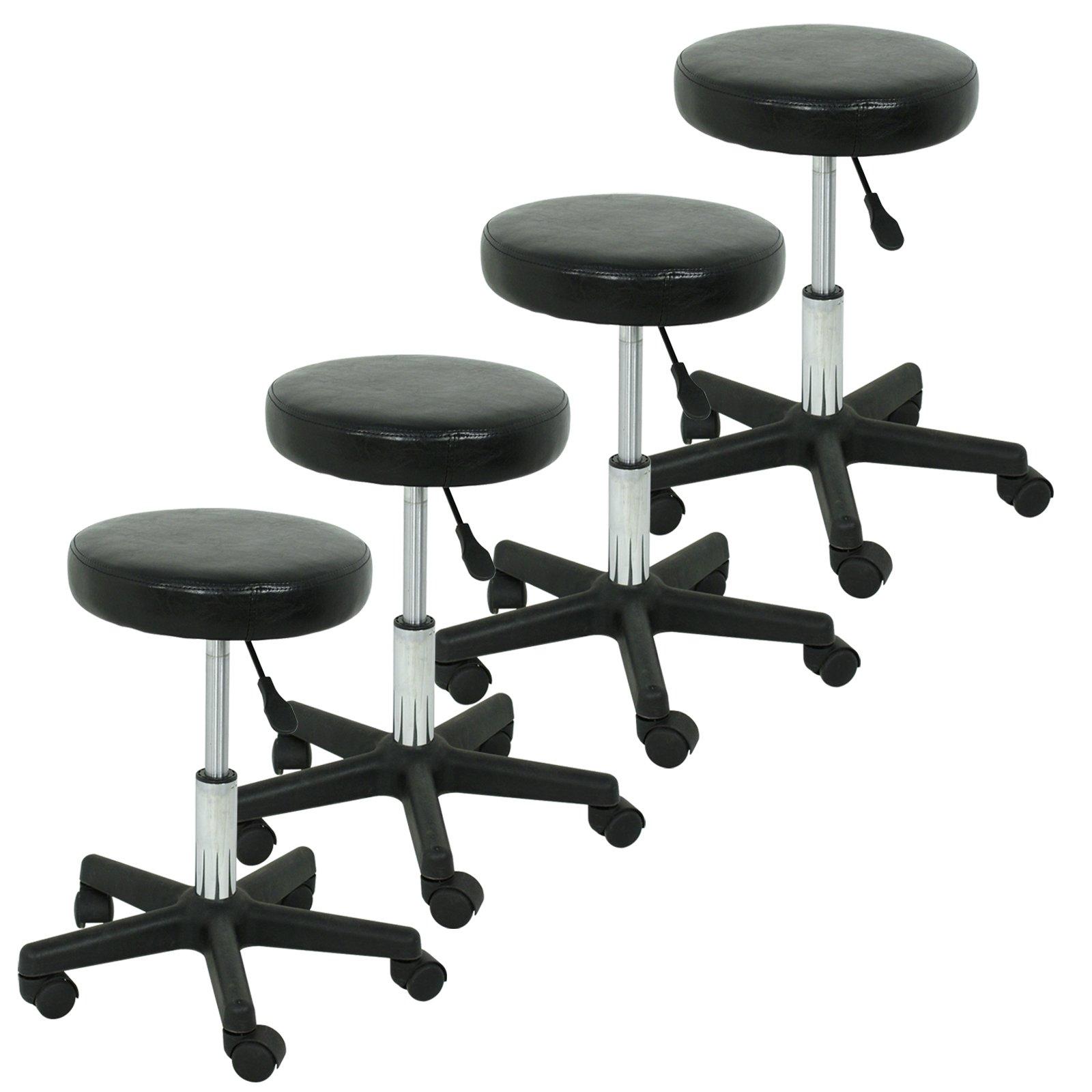 F2C Leather Adjustable Bar Stools Swivel Chairs Facial Massage Spa Salon Stool White/Black (4Pcs Black) by F2C (Image #2)