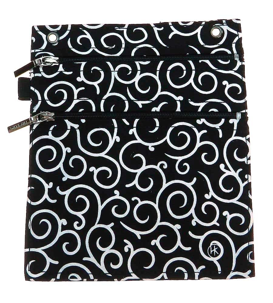 Double Zipper Hip Klip - Large with Elastic Loop - Black Girly Swirls - Cotton by HipKlips (Image #1)