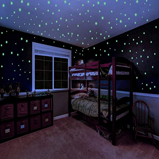 Galaxy Glow Star Set and Solar System Decal for Kids Bedroom Decoration Glowing Wall Decals Stickers Room Decor Kit Glow in The Dark Stars for Ceiling or Wall Stickers