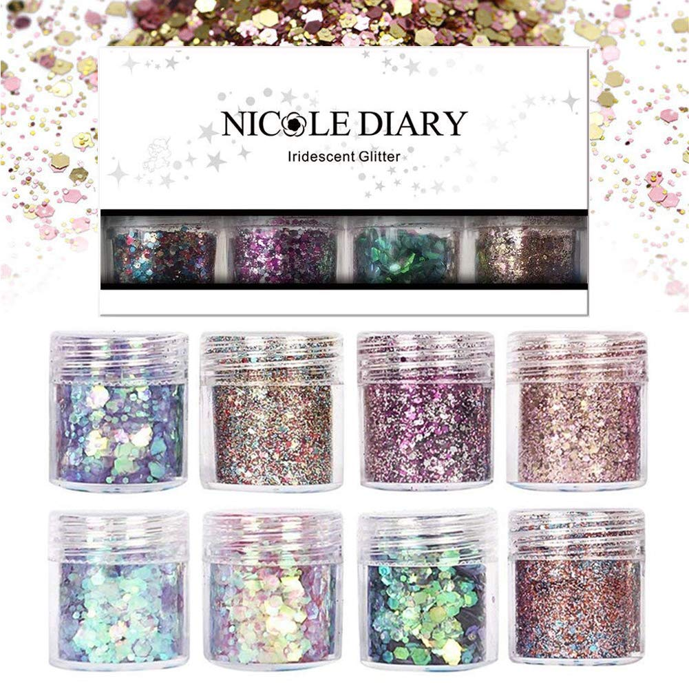 NICOLE DIARY 8 Boxes Chunky Glitter Nail Sequins Iridescent Flakes Colorful Mixed Paillette Festival Glitter Halloween Christmas Cosmetic Face Hair Body Makeup Glitter Nail Art