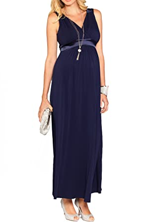 53aed3de5456f Angel Maternity - Maternity Evening Dress Sleeveless Maxi Tank Dress Formal Long  Maternity Dress - Dark