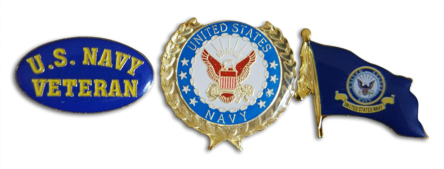 U.S Navy Veteran, Wreath, Wavy Flag 3-Piece Lapel Pin or Hat Pin & Tie Tack Set with Clutch Back by Novel Merk