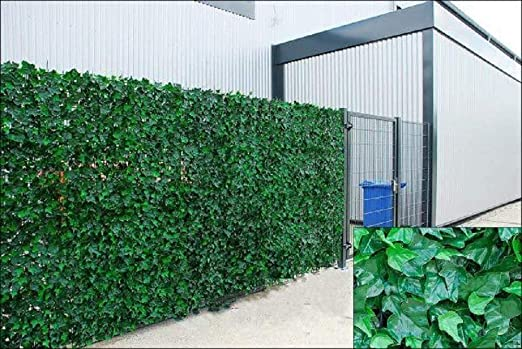 Valla de jardín de color verde galés con hojas de hiedra artificial en rollo para valla de 1 m x 3 m, color verde: Amazon.es: Hogar