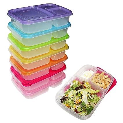 Pack 7 Fiambreras Bento - Contenedores 3 Compartimentos Preparar Alimentos - Control de Porciones -Contenedores
