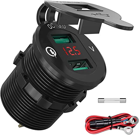 Auto Steckdose Doppel-USB Ladegerät Buchse 12v-24v Fit Für Motorrad KFZ Einbau