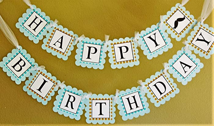 light blue happy birthday little man theme banner customizable happy birthday party banner mustache