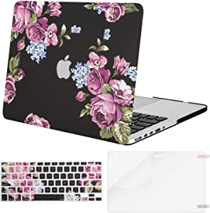 MOSISO MacBook Pro 13 inch Case 2015 2014 2013 end 2012 A1502 A1425, Plastic Pattern Hard Shell Case & Keyboard Cover & Screen Protector Compatible with MacBook Pro Retina 13 inch, Purple Peony